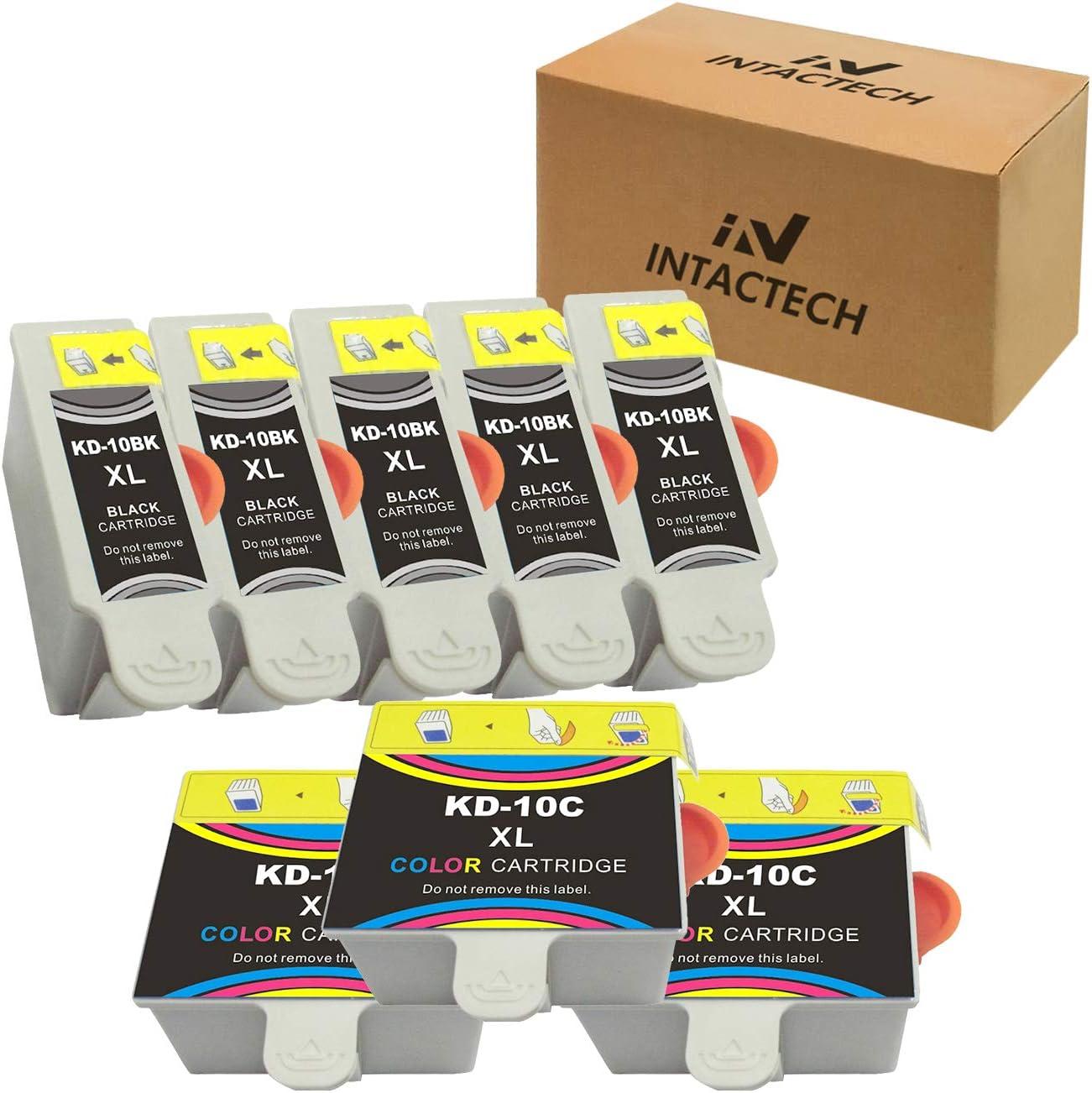 Intactech Compatible with Kodak 10XL 10B 10C ESP 3250 Ink Cartridges 8 Combo (5 Black, 3 Color) Work for Kodak ESP 3, ESP 3250, 5250, 9250, Office 6150, EASYSHARE 5500, Hero 7.1, 9.1, 6.1 Printer