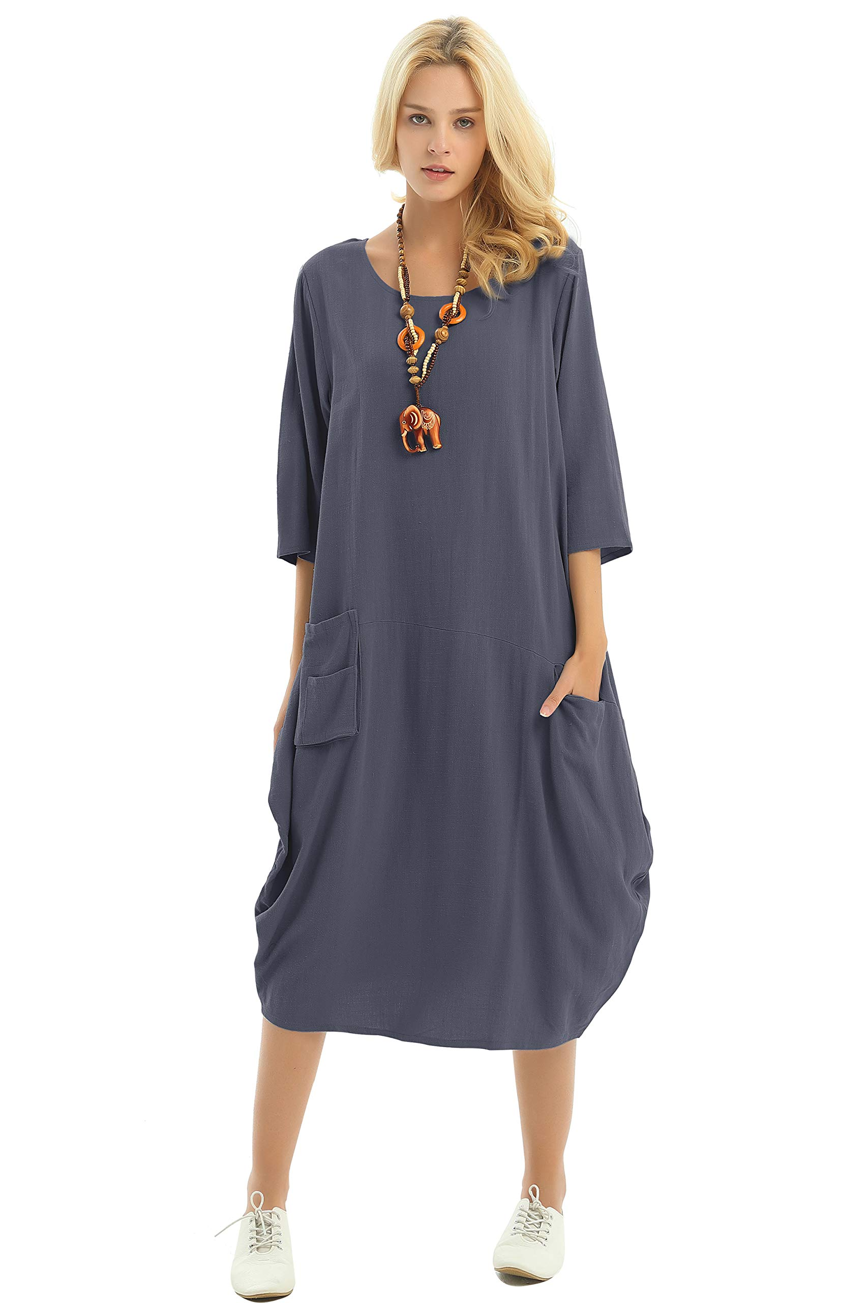 75e1d130e1 Anysize Soft Linen Cotton Lantern Loose Dress Spring Summer Fall Plus Size  Clothing Y19 Gray