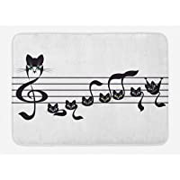 Lunarable Music Bath Mat, Notes Kittens Kitty Cat Artwork Notation Tune Children Halloween Stylized Monochrome, Plush…