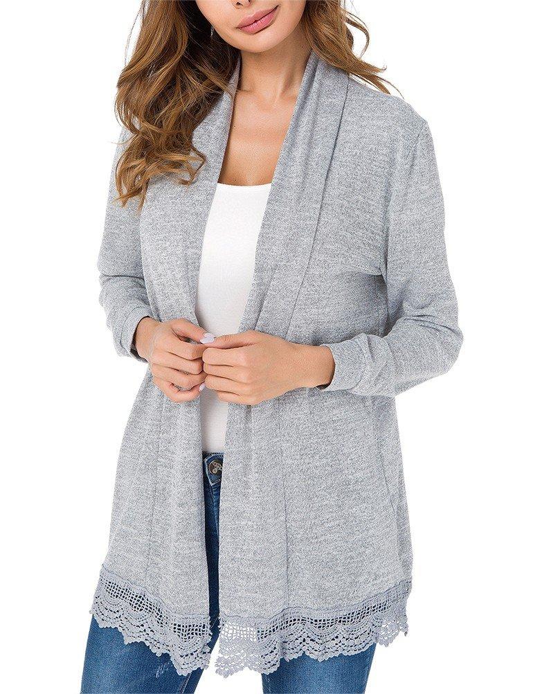 Myobe Summer Kimono Cardigan Elegant Lace Tops Long Sleeve Open Front Knitted Cardigan Midi Coat Cover Up (XXL, Gray)