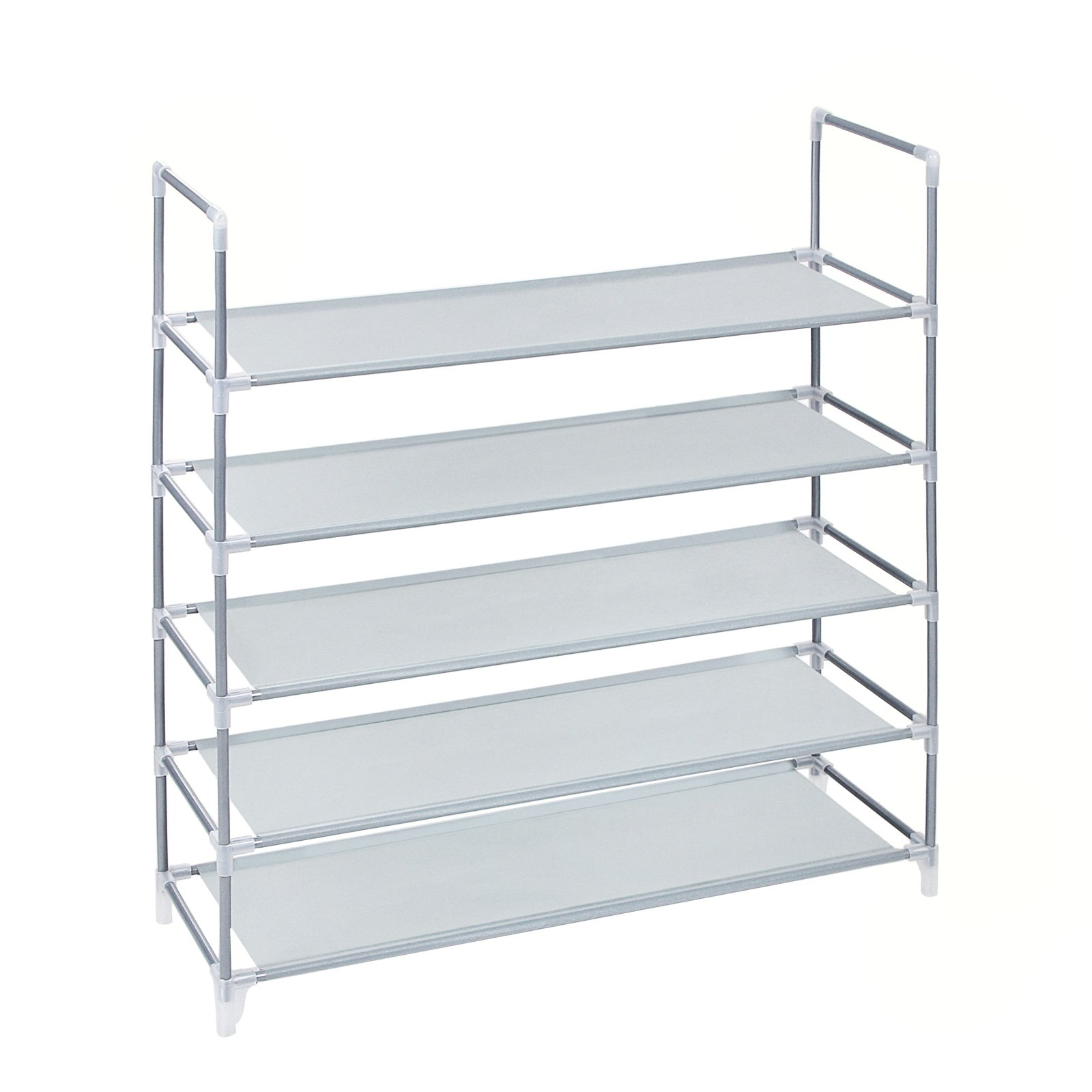 SONGMICS 5 Tiers Utility Steel Shoe Rack Non-woven Fabric Shoe Storage Organizer Cabinet Tower Stackable Shelves Holds 25 Pairs Of Shoes - 39 3/8'' x 11 1/8'' x 36 1/4'' Gray ULSR05G