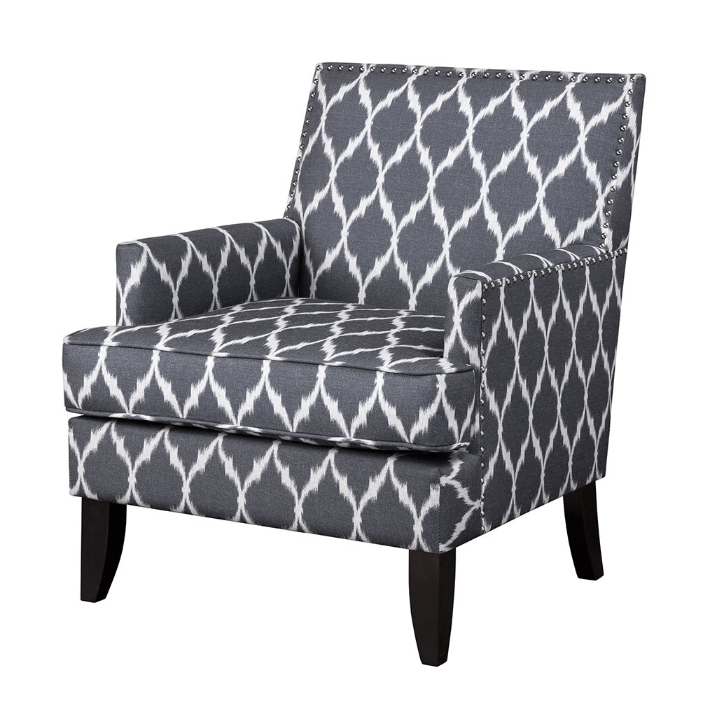 Madison Park Colton Accent Chairs - Hardwood, Brich Wood, Ogee Print, Bedroom Lounge Mid Century Modern Deep Seating, High Back Club Style Arm-Chair Living Room Furniture, Grey/White