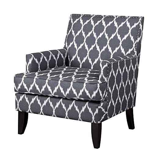 Madison Park Colton Accent Hardwood, Brich Wood, Ogee Print, Bedroom Lounge Mid Century Modern Deep Seating, High Back Club Style Arm-Chair Living Room Furniture, See Below, Grey White