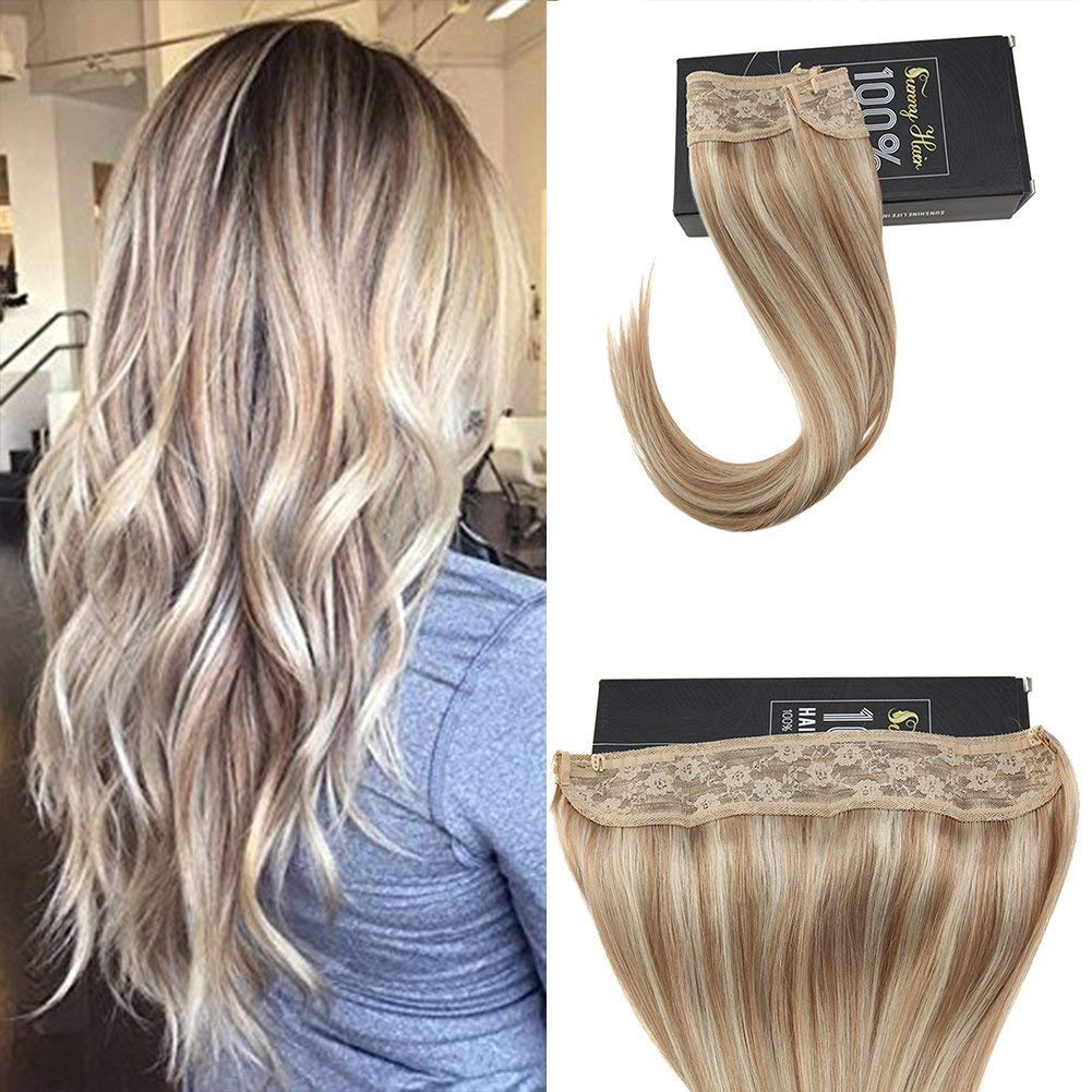 Sunny 20inch Halo Hair Extensions Real Human Hair Color Dark Ash Blonde Mixed with Bleach Blonde Double Weft Adjustable Wire Flip on Hair Extensions 100g ltd