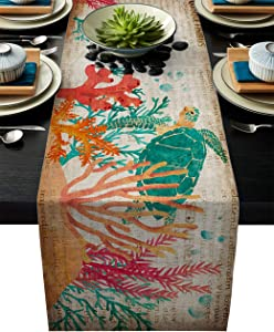 Cotton Linen Table Runners for Home, Vintage Sea Turtle Coral Underwater World Marine Life Durable Washable Fabric Table Runner for Dining, Farmhouse, Wedding, Holiday Parties Decor 13x90 inch