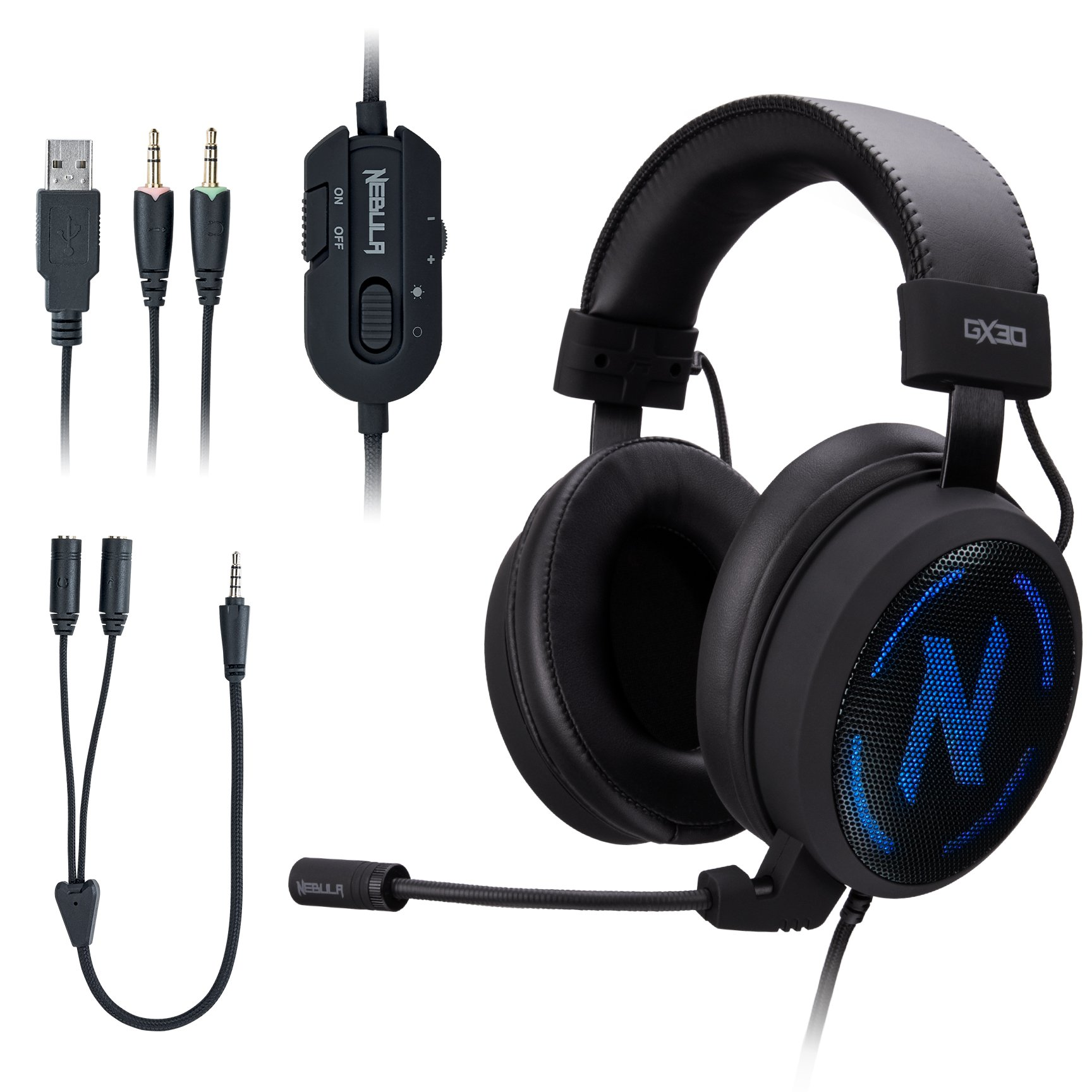 ROSEWILL Gaming Headset with Mic and 7 Color Backlit for PC/ Computer/ PS4/ MAC/ Xbox One/ Laptop/ iPad, Gaming Headphones with RGB LED, Detachable Microphone, Comfortable Headband, In-line Controller by Rosewill