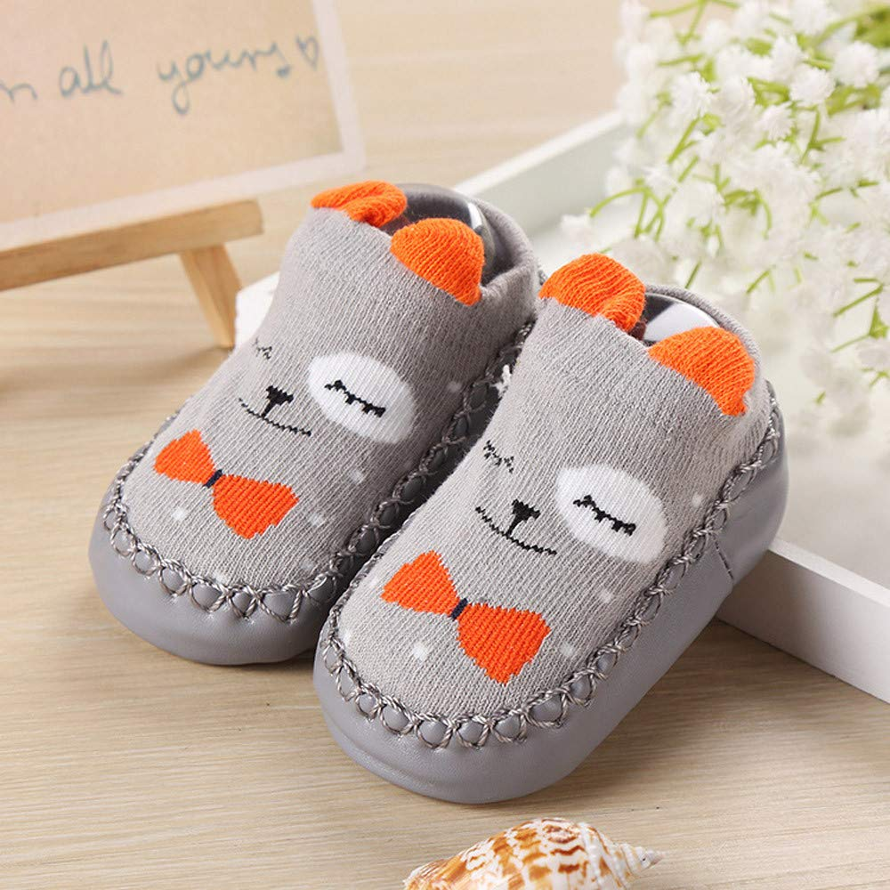 Hunputa Unisex Anti-skid Slip on Slipper Socks for Infants Toddlers Baby Kids Prewalker Socks