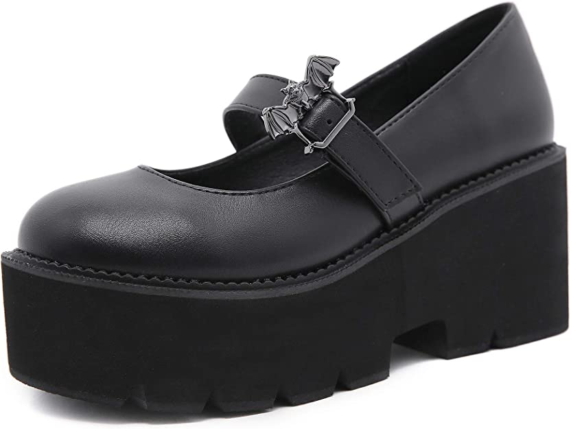 Details about  /Womens Preppy Style Mary Janes Carved Block heel Buckle Brogue T-Strap Shoes #