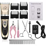 Pet Grooming Clipper Kits Low Noise Rechargeable Cordless Quiet Pet Groomer with 4 Comb Attachments and 4 Extra tools for Family Pets