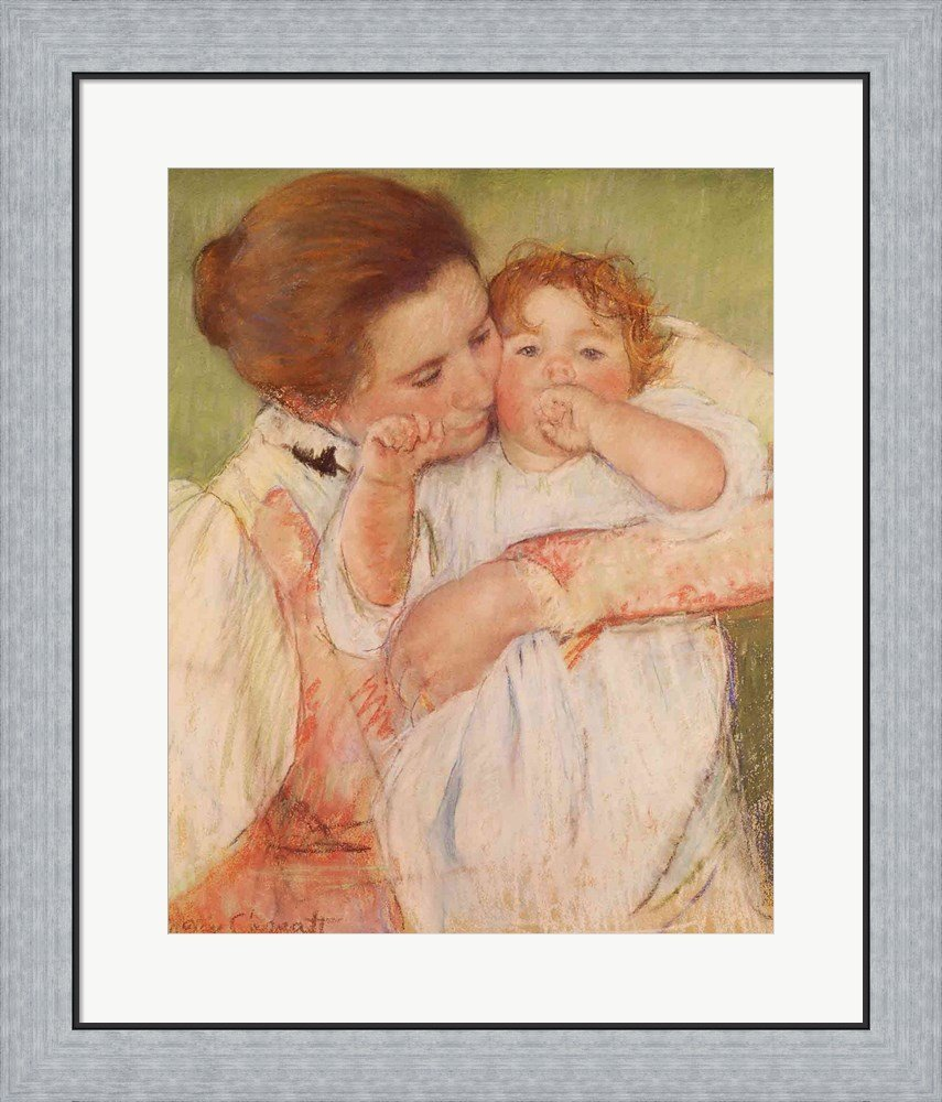 Mother and Child, 1897 by Mary Cassatt Framed Art Print Wall Picture, Flat Silver Frame, 24 x 28 inches