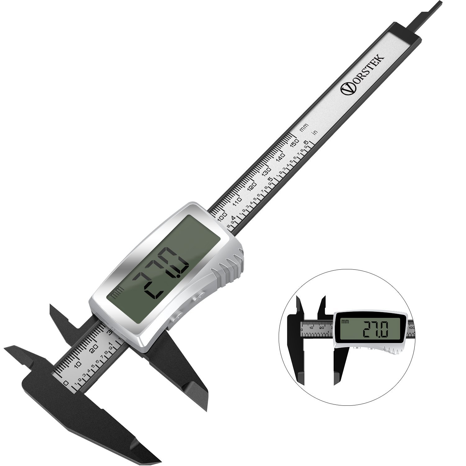 VORSTEK digital caliper Plastic metric 6 inch vernier caliper with 3V 220mAh Coin Battery Inch/Milimeter Conversion AUTO ON/OFF LCD Screen High Accurate Measuring Tool