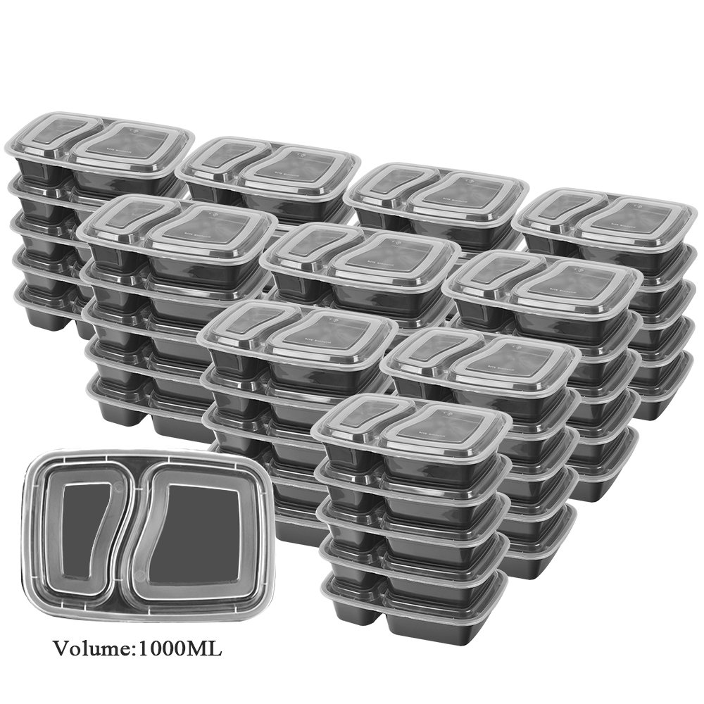 50 SZUAH Meal Prep Containers - Bento Lunch Boxes with Lids - 2 Compartment Food Containers, BPA Free, Stackable & Reusable, Dishwasher/Microwave/Freezer Safe - 34 oz … …