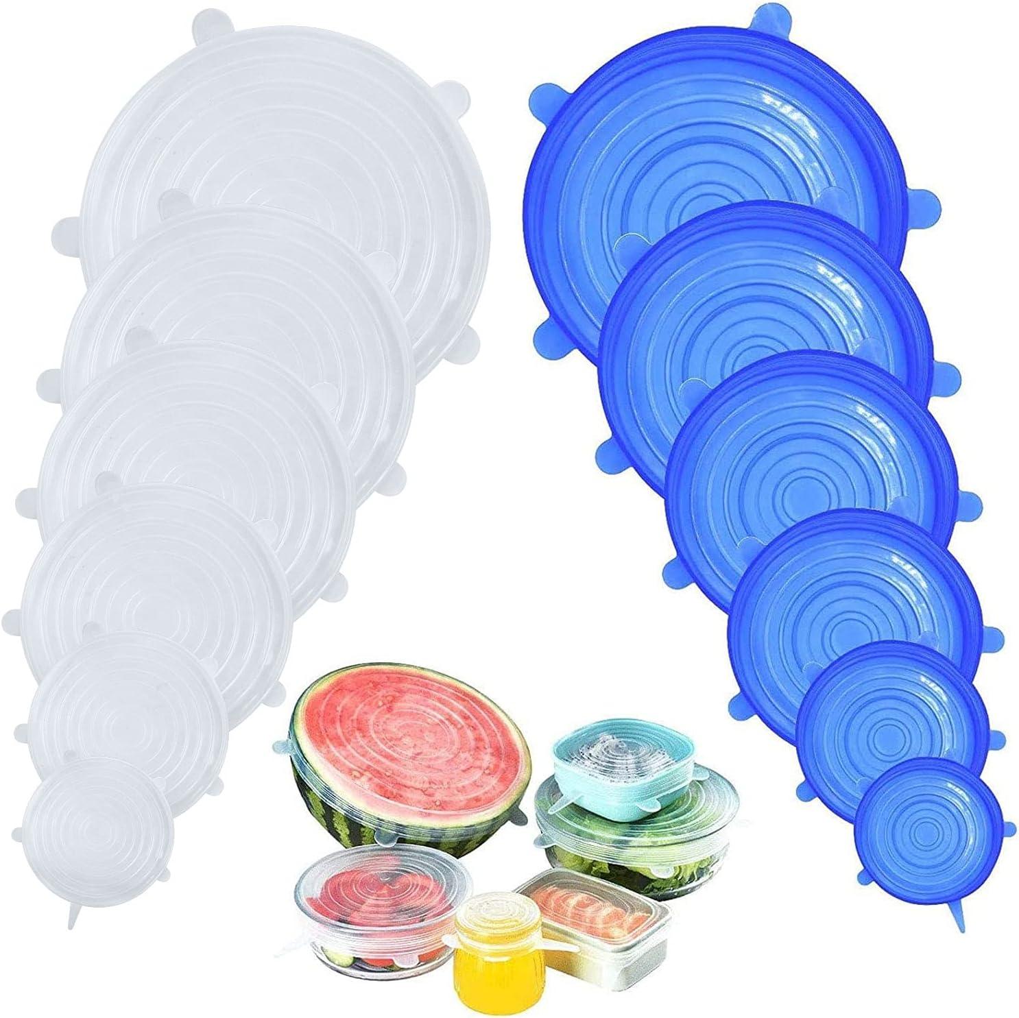 N/ützliches 4PCS Silikon Wraps K/üche Dichtung Deckel Stretch Cling Film FreshDish Nahrungsmittelschutz Recycelbar Werkzeuge