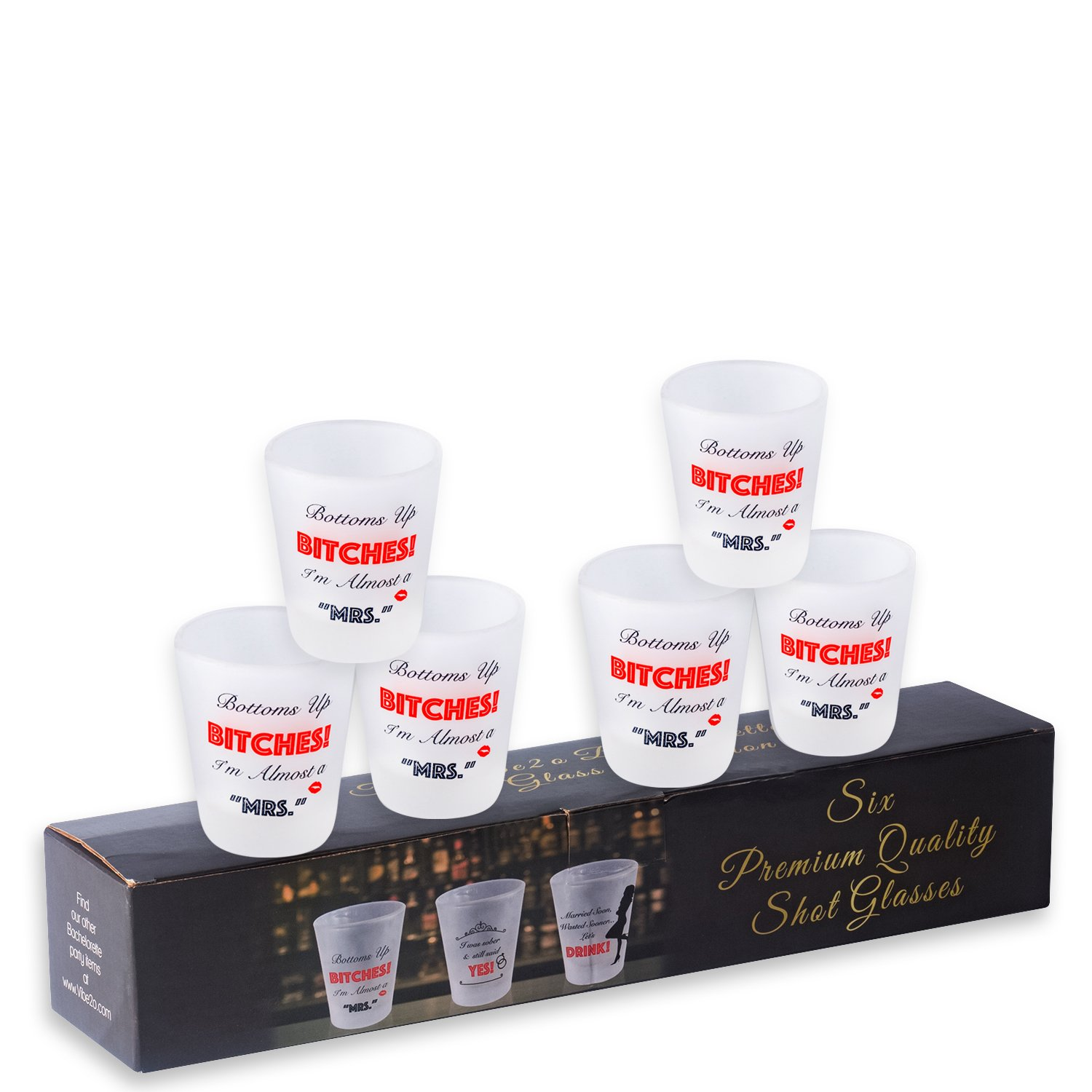 Bachelorette Party Favors Glass Shot Glasses (6 \