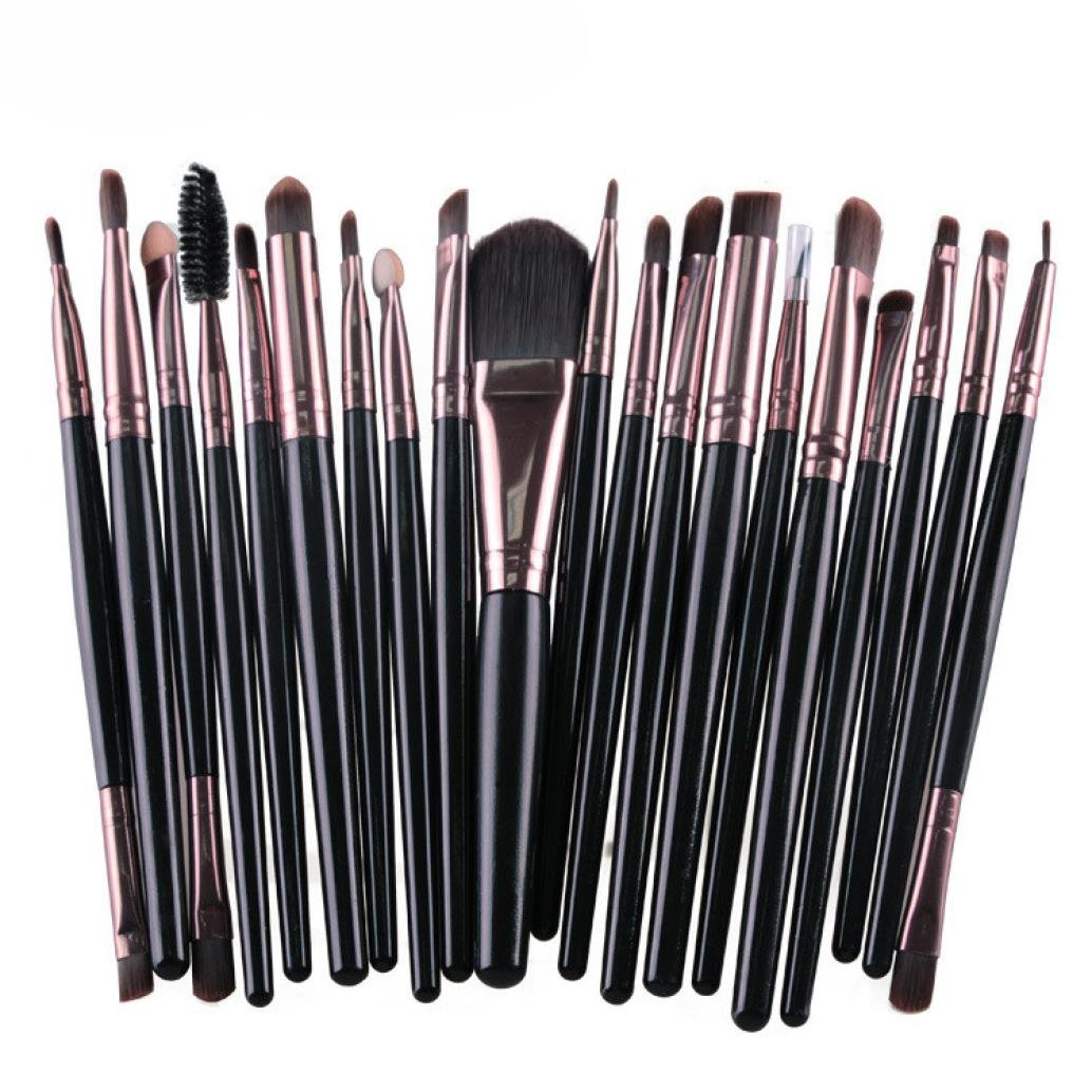 Creazy 20 pcs Makeup Brush Set tools Make-up Toiletry Kit Wool Make Up Brush Set Black
