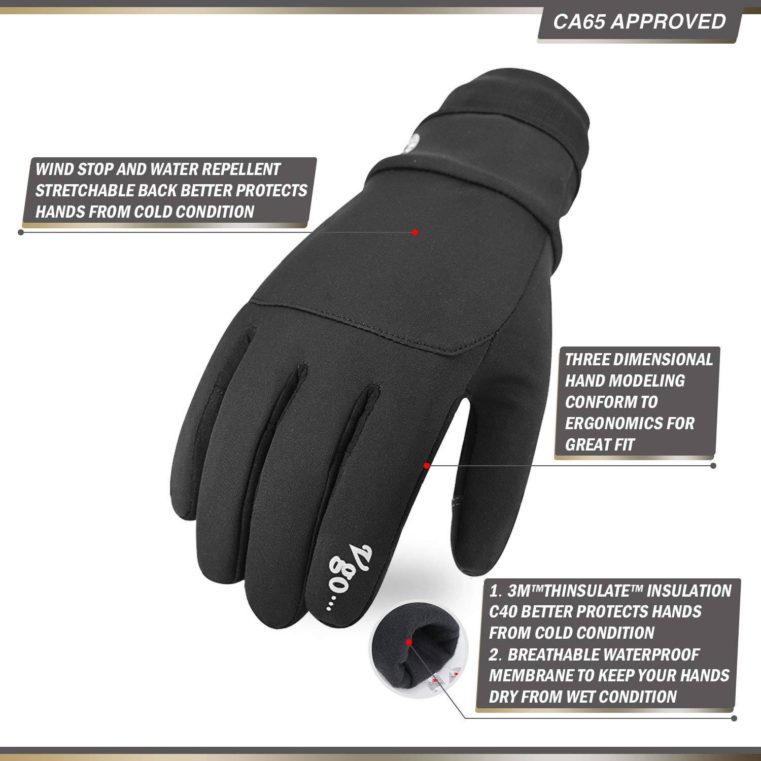 Size XL,Black,SL9644FW Vgo 2Pairs 32℉ or Above 3M Thinsulate C40 Lined Mens Synthetic Leather Waterproof Insert Outdoor Gloves