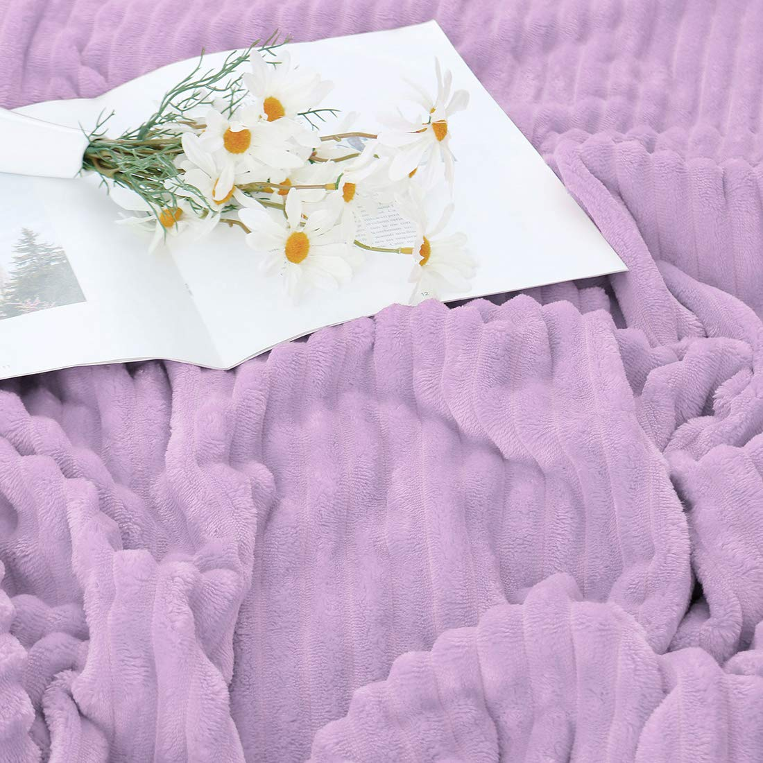 uxcell Reversible Flannel Fleece Blanket Striped Duvet Cover Twin Size Super Soft Warm Fuzzy Plush Solid Blanket for Couch and Bed 59 x 78 Lavender,59 x 78