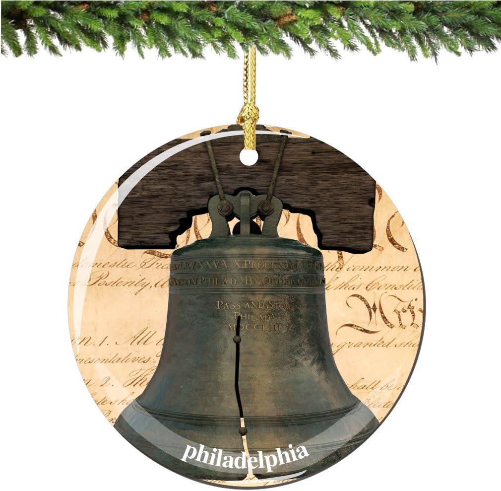 City-Souvenirs Philadelphia Liberty Bell Christmas Ornament, Philadelphia Porcelain 2.75
