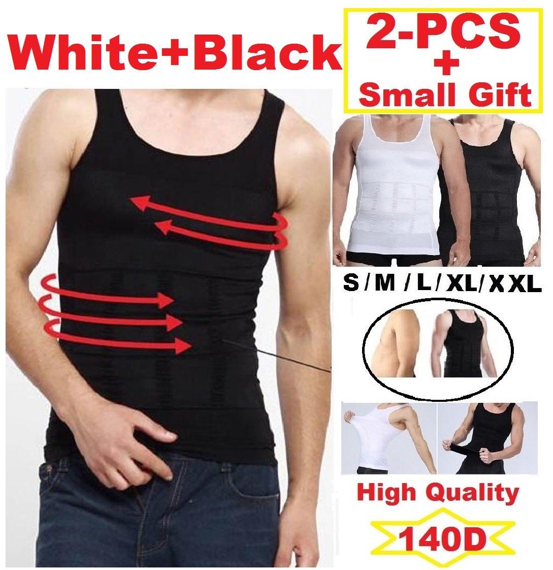2pcs Men Slim Body Shaper Compression Undershirt Tank Vest Shapewear X-Large White & Black