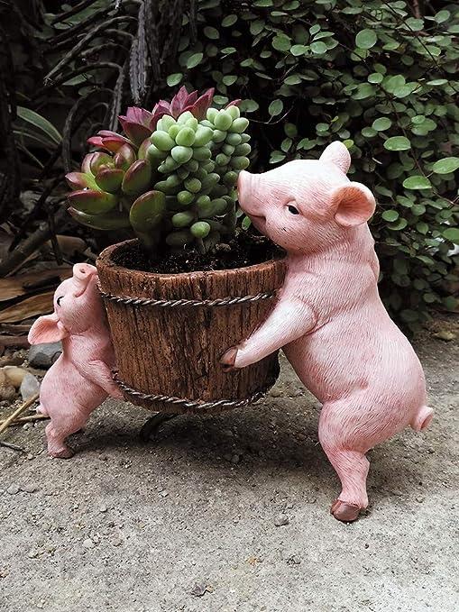 IFEVER - Mini macetas de Resina para jardín con diseño de Cerdo, Miniatura, decoración de Cerdito pequeño, Pig with Pot: Amazon.es: Jardín