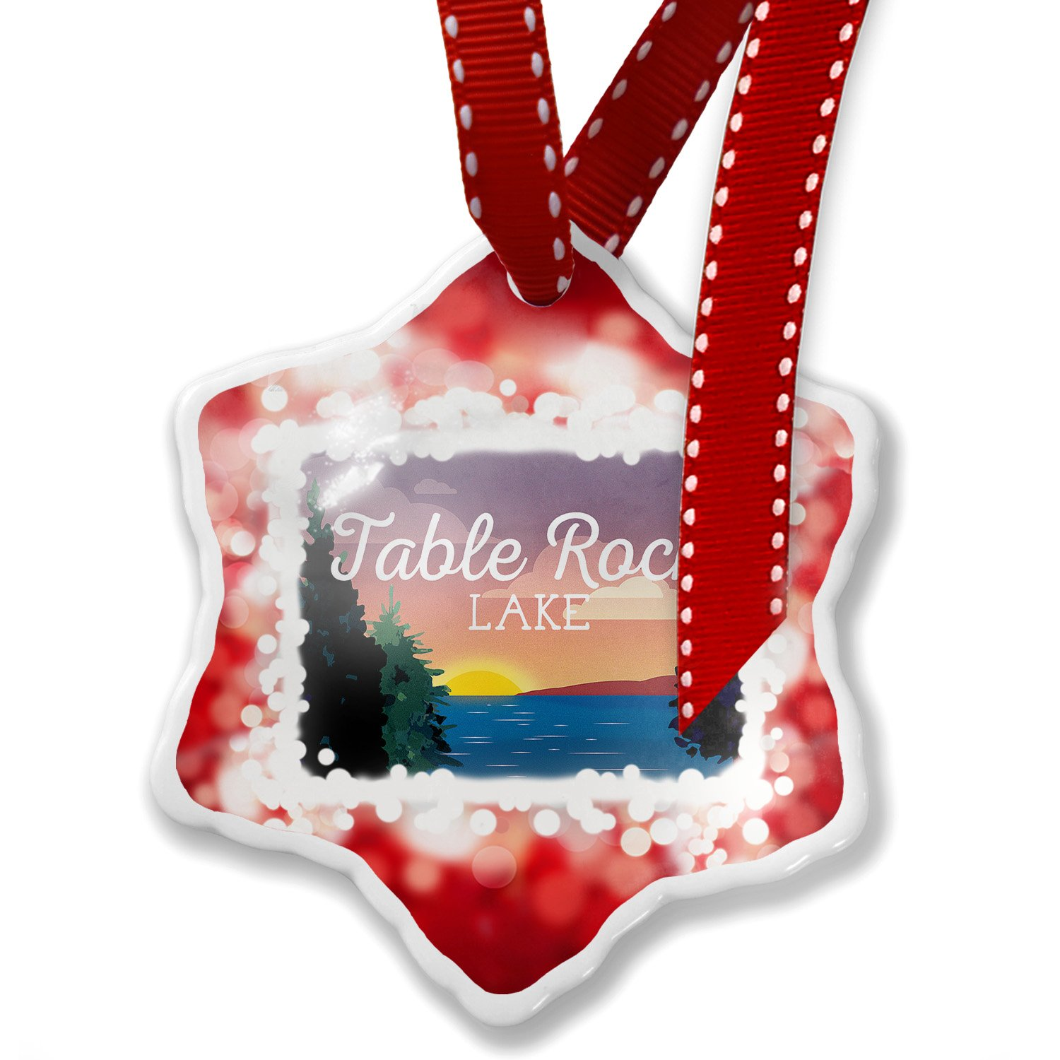Christmas Ornament Lake retro design Table Rock Lake, red - Neonblond