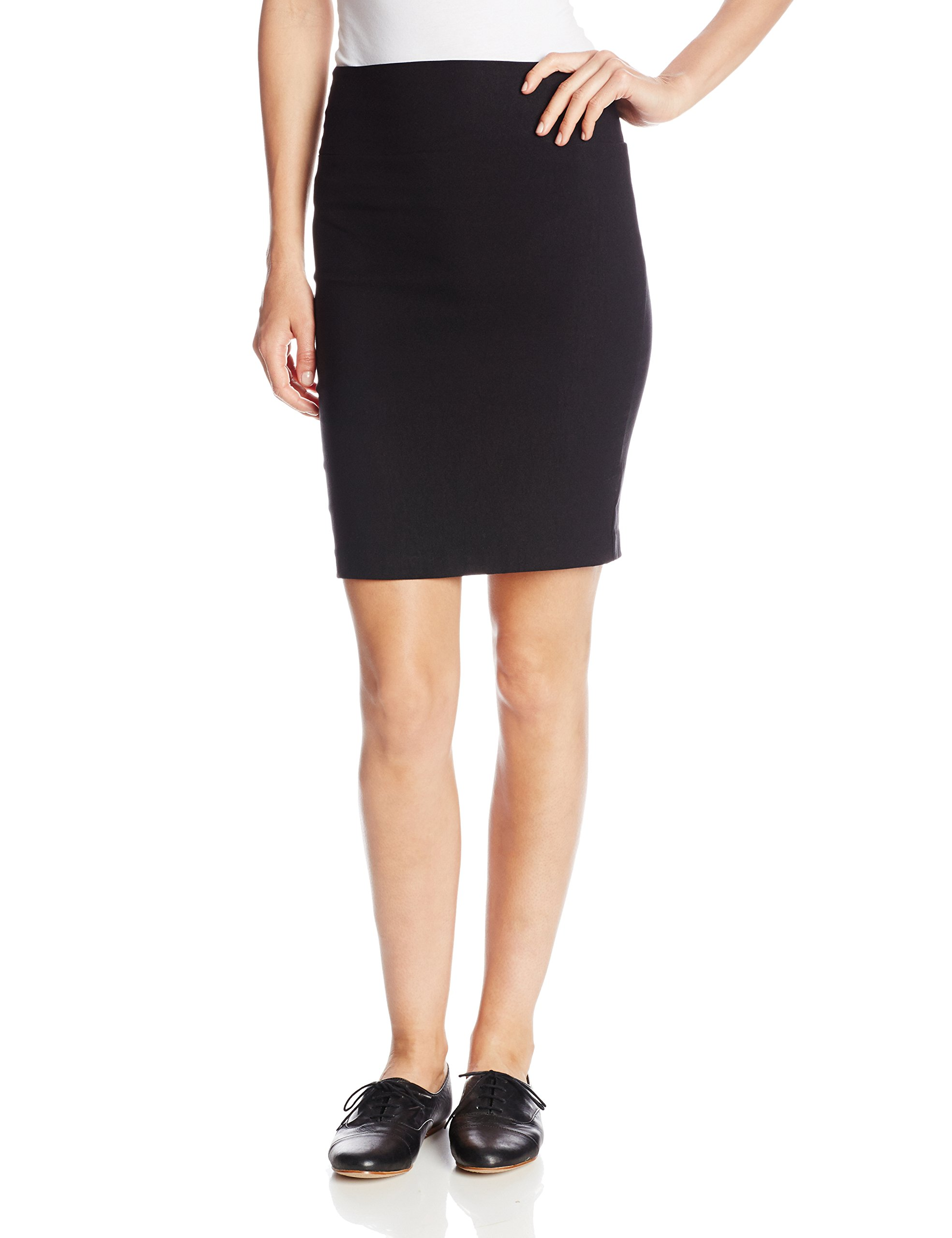 A. Byer Juniors Pull-On Slim Fitting Pencil Skirt, Black, Small