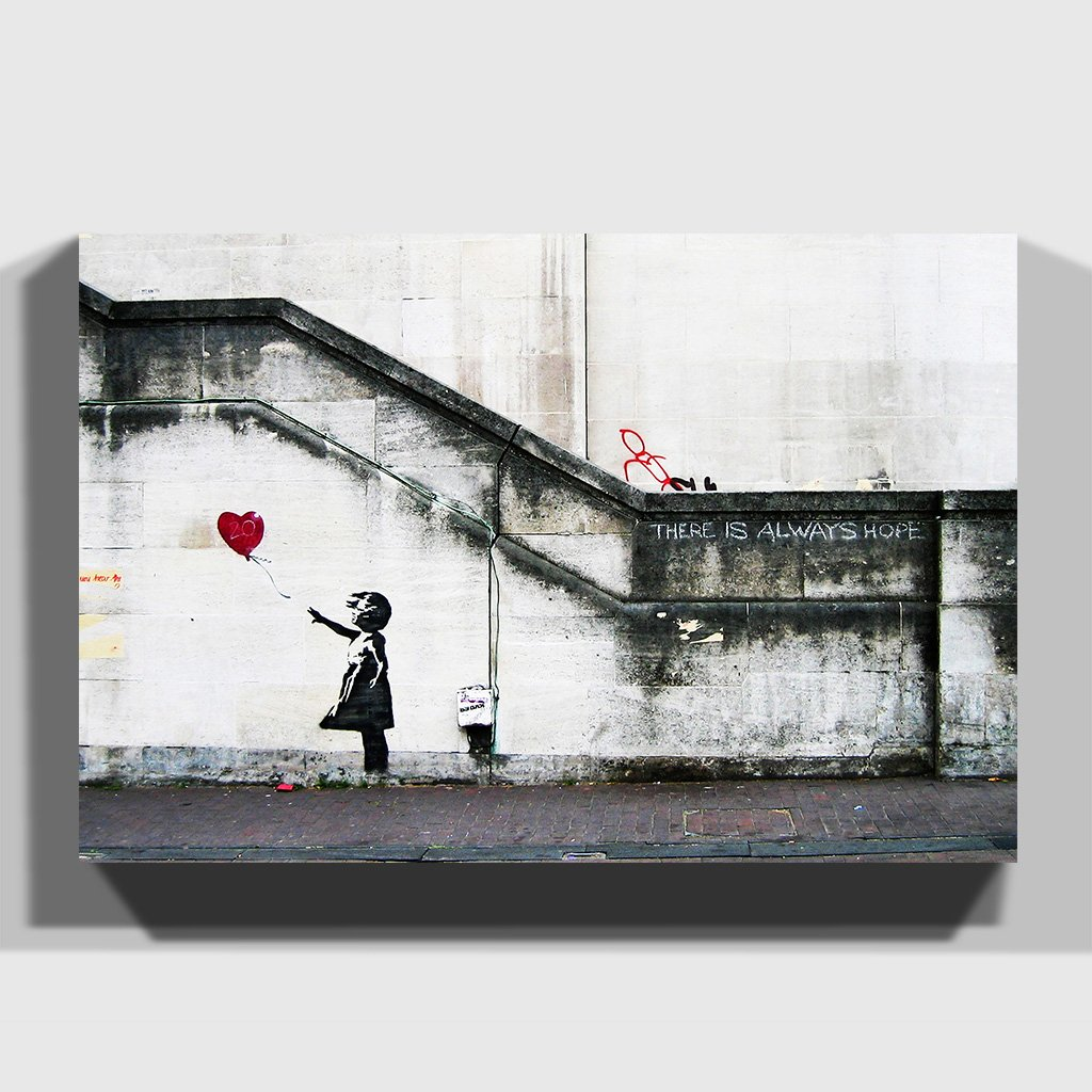Arty Pie Banksy Girl with balloon Graffiti Wall Art Canvas Print ...