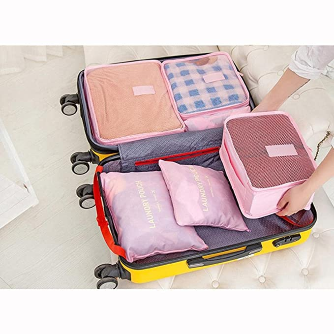 B, Multicolor Voberry 6PCS Waterproof Clothes Storage Bags Travel Luggage Organizer Pouch Packing Cube
