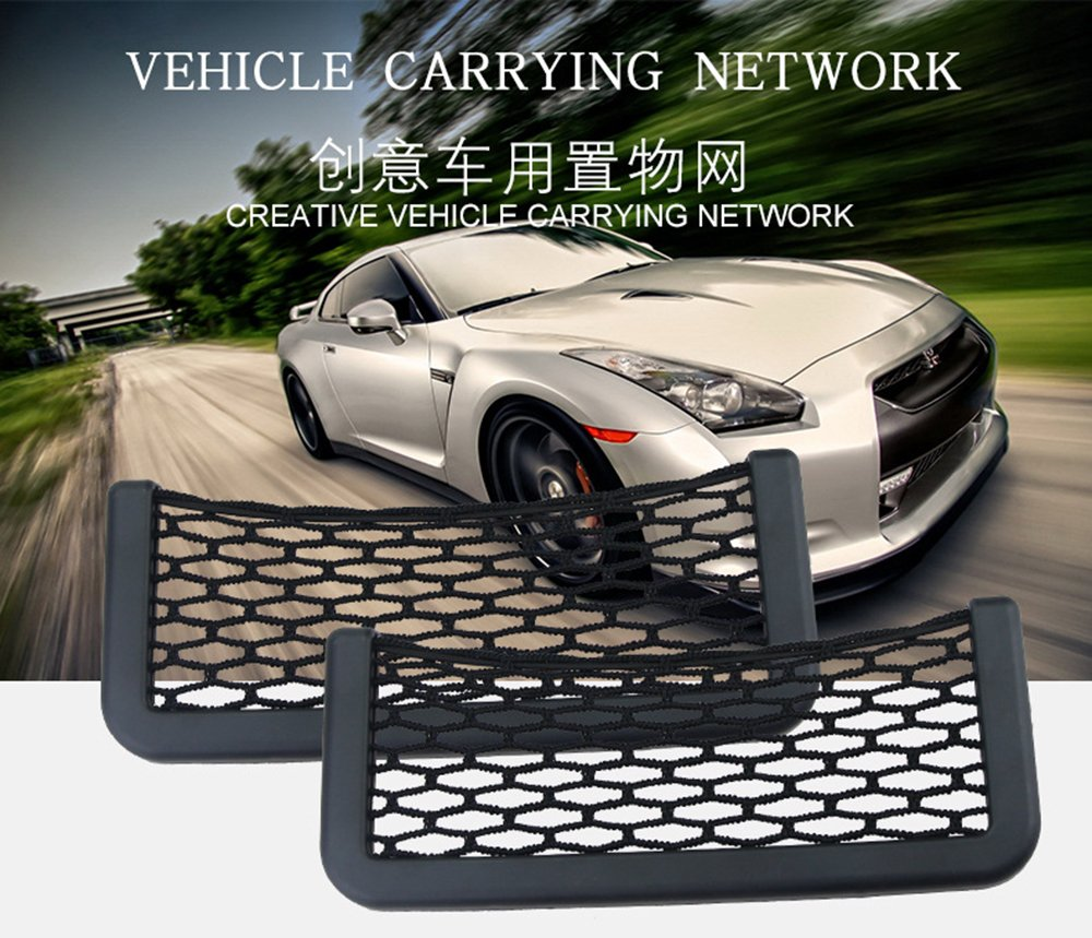 Car Net String Box Pocket Organizer Bags Baskets Mobile Phone Holder Seat Side Back Storage Network Shelf Nets Auto Mesh Nets