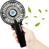 USB Ventilador, Samione Mini Ventilador Silencioso Recargable Ventilador de Mesa Para Hogar y Oficina Portátil Mini Hand Fan (Negro)