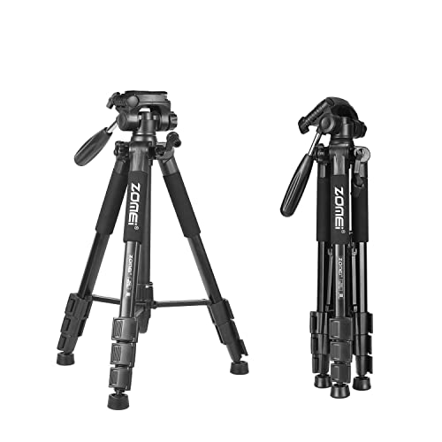 Camera Tripod - Zomei Z666 Compact Lightweight Travel Tripod with 3 Way Panhead 360° Head Include Carry Case Max. Height: 55inch Max. Load: 3.2 lbs - Black