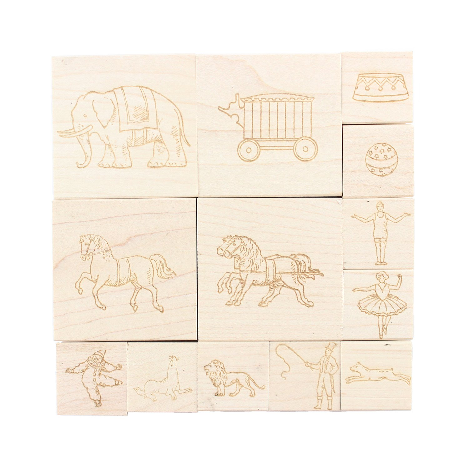 Circus Themed Engraved Wood Rubber Stamp Set - 13 Pieces