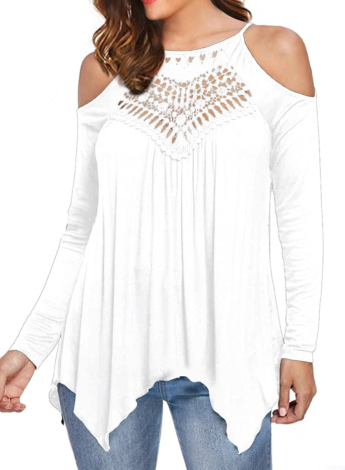 MIHOLL Women's Casual Tops Lace Off Shoulder Long Sleeve Loose Blouse Shirts