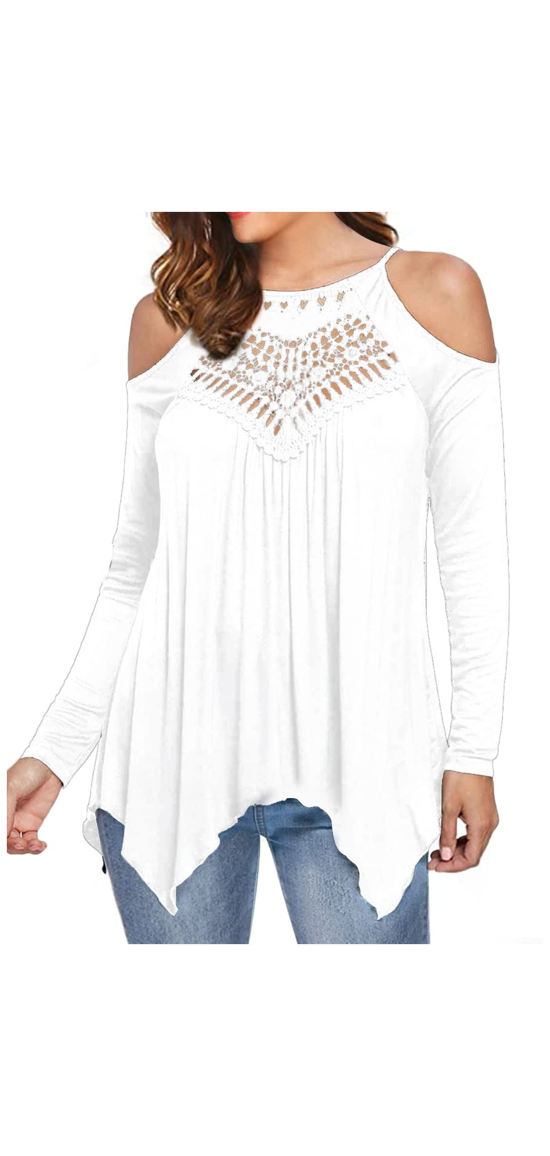 Women's Casual Tops Lace Off Shoulder Long Sleeve Loose