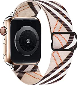 OHCBOOGIE Stretchy Solo Loop Strap Compatible with Apple Watch Bands 38mm 40mm 42mm 44mm ,Adjustable Stretch Braided Sport Elastics Weave Nylon Women Men Wristband Compatible with iWatch Series 6/5/4/3/2/1 SE,White Lattice,42/44mm