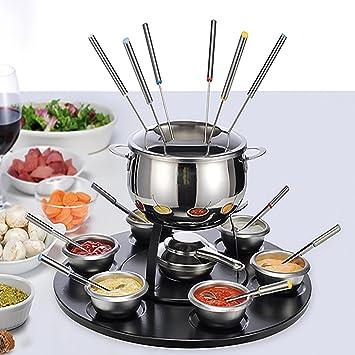 Juego de fondue de acero inoxidable Fondue Fondue Chocolate karusell para 6 personas: Amazon.es: Hogar