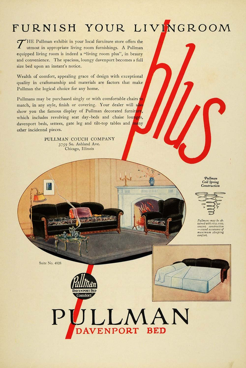 Amazon.com: 1925 Ad Pullman Davenport Bed Household Living Room Furniture  Home Furnishings   Original Print Ad: Entertainment Collectibles