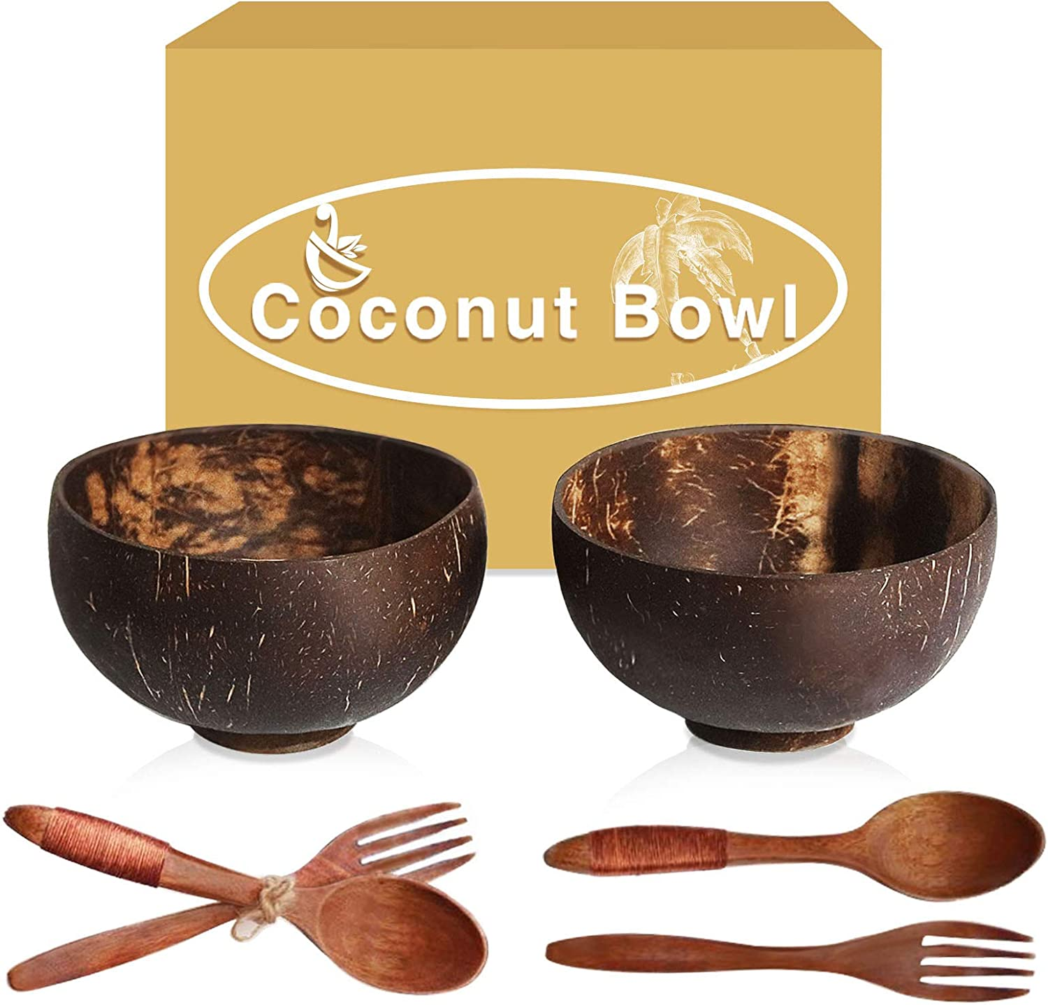 Coconut Bowls With Wooden Spoons, Wooden Forks, Each 2, Smoothie Bowls, Salad Bowls, Hand Made Crafts, candle bowls,Good Gift for Salad Smoothie Breakfast. Wooden Bowls Set for Children..