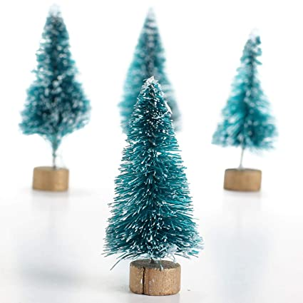 factory direct craft 24 teeny tiny green bottle brush holiday trees for crafting and displaying - Aqua Christmas Tree