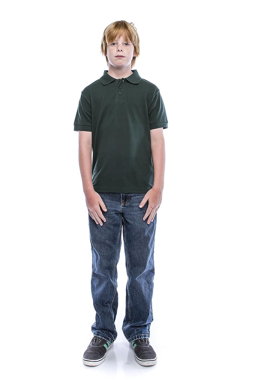 ALL Polo Little Boy's Short Sleeve 3 Button Plain Polo Shirts for Boys 1100-Black-4-$P