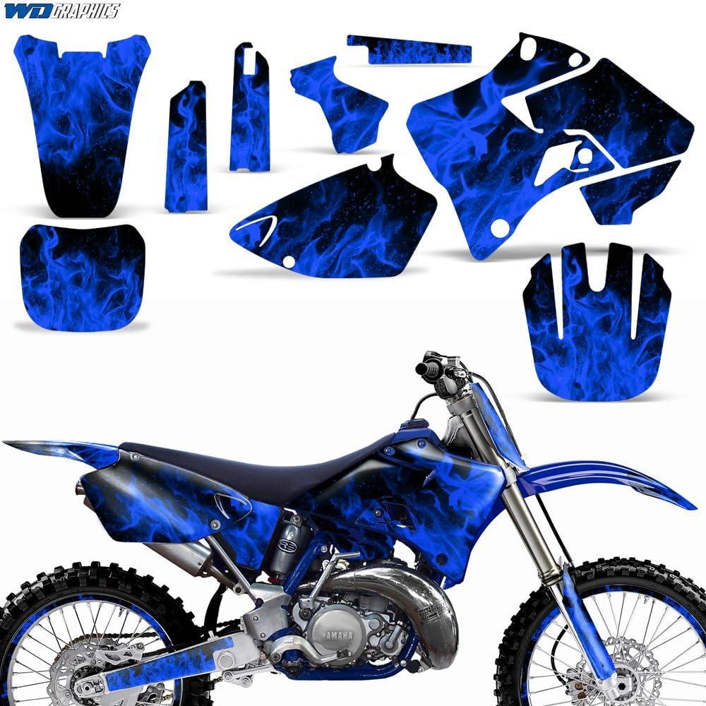Amazon Com Wholesale Decals Mx Dirt Bike Graphics Kit Sticker Decal Compatible With Yamaha Yz125 Yz250 1996 2001 Flames Blue Automotive