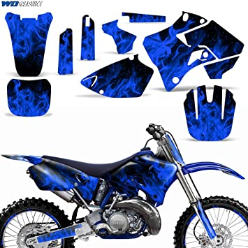 Yamaha YZ125 YZ250 1996-2001 Graphics Kit MX Dirt Bike Backgrounds YZ 125  250 FLAMES BLUE