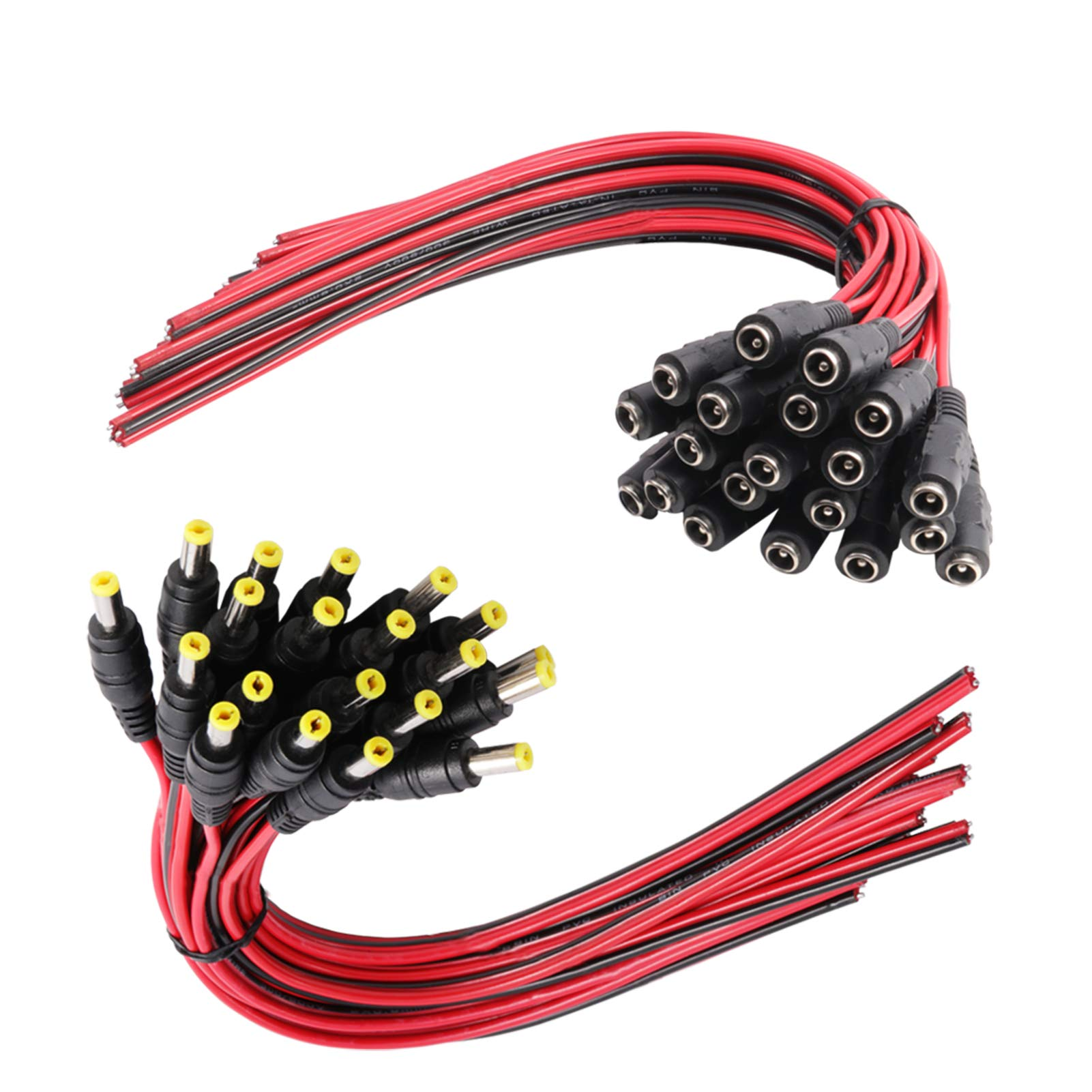 20 inch // 50 cm Car Rearview Monitor System Video LED Strip Light SIM/&NAT Male DC 2.1mm x 5.5mm Wire Power Pigtails Adapter Barrel Plug Socket Cables for CCTV Security Camera DVR Surveillance