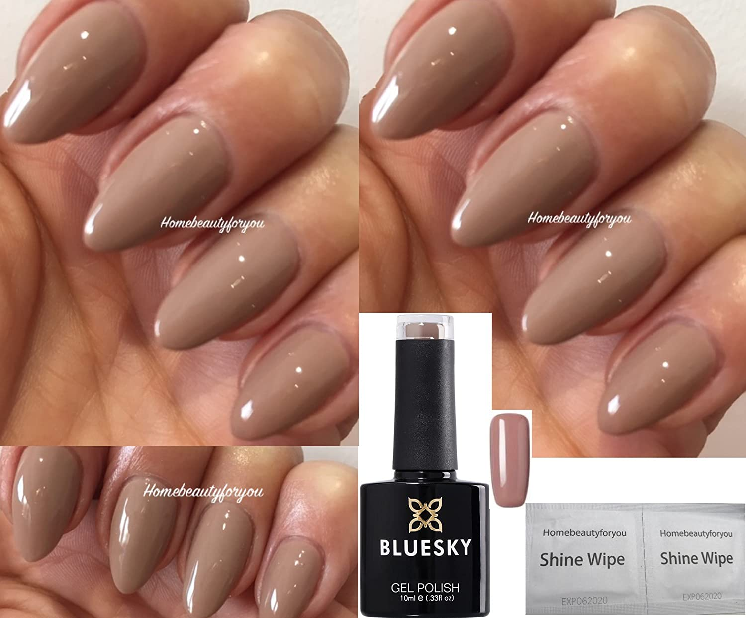 Bluesky 63922 Beige Tan Autumn Winter Nail Gel Polish UV LED Soak Off 10ml PLUS 2 Luvlinail Shine Wipes LTD