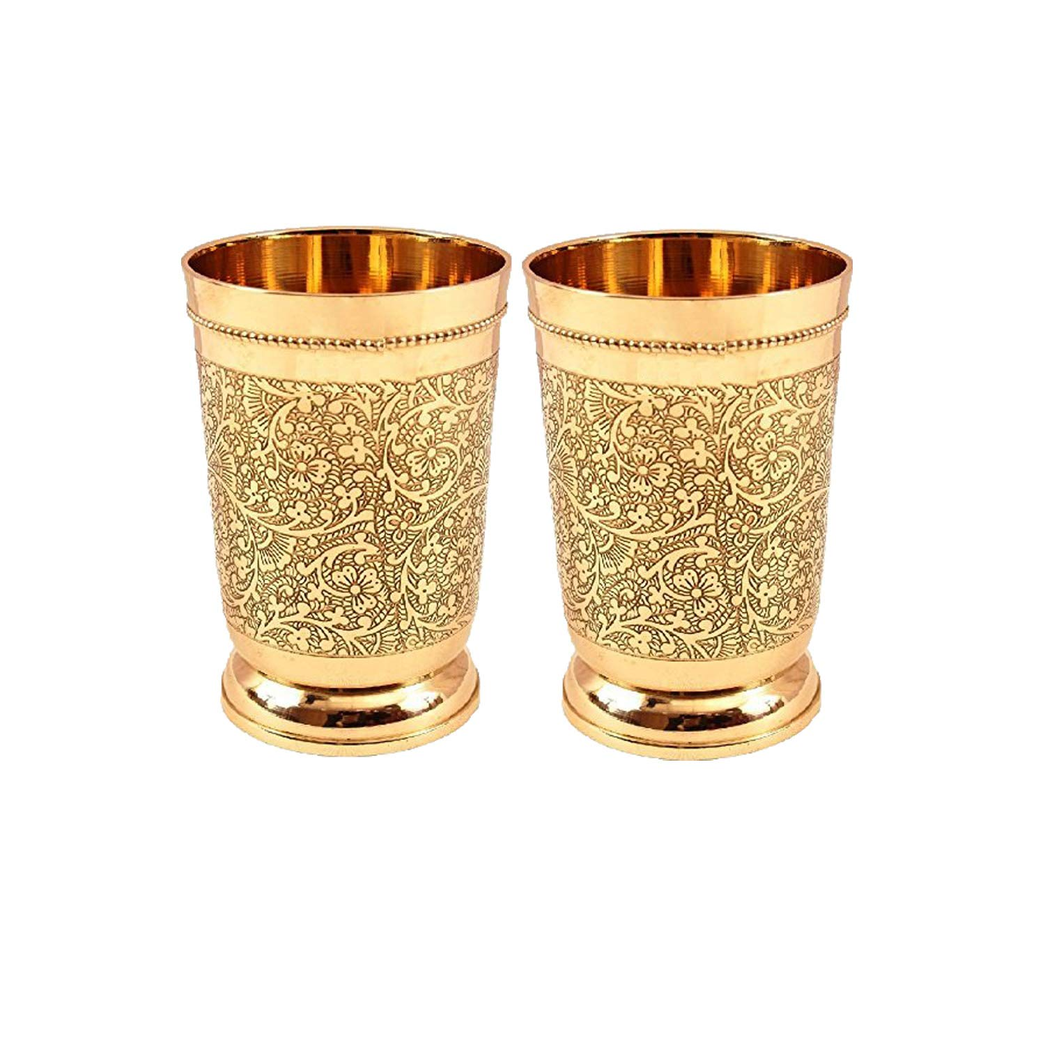 Set Of 2 Embossed Designer Brass Mint Julep Cup Goblet Tumbler Capacity 12 Ounce Each