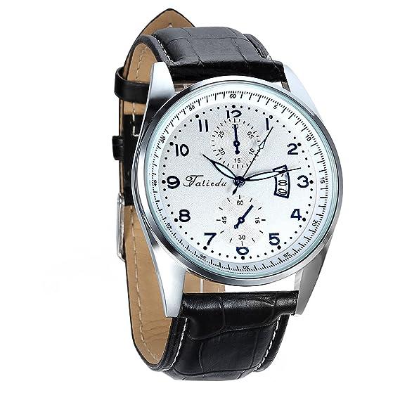 Avaner Relojes de Hombre Caballero Grande Reloj con Calendario Dial Blanco con Punteros Azules, Retro Vintage con Subesfera Decorativa, Buen Regalo para ...