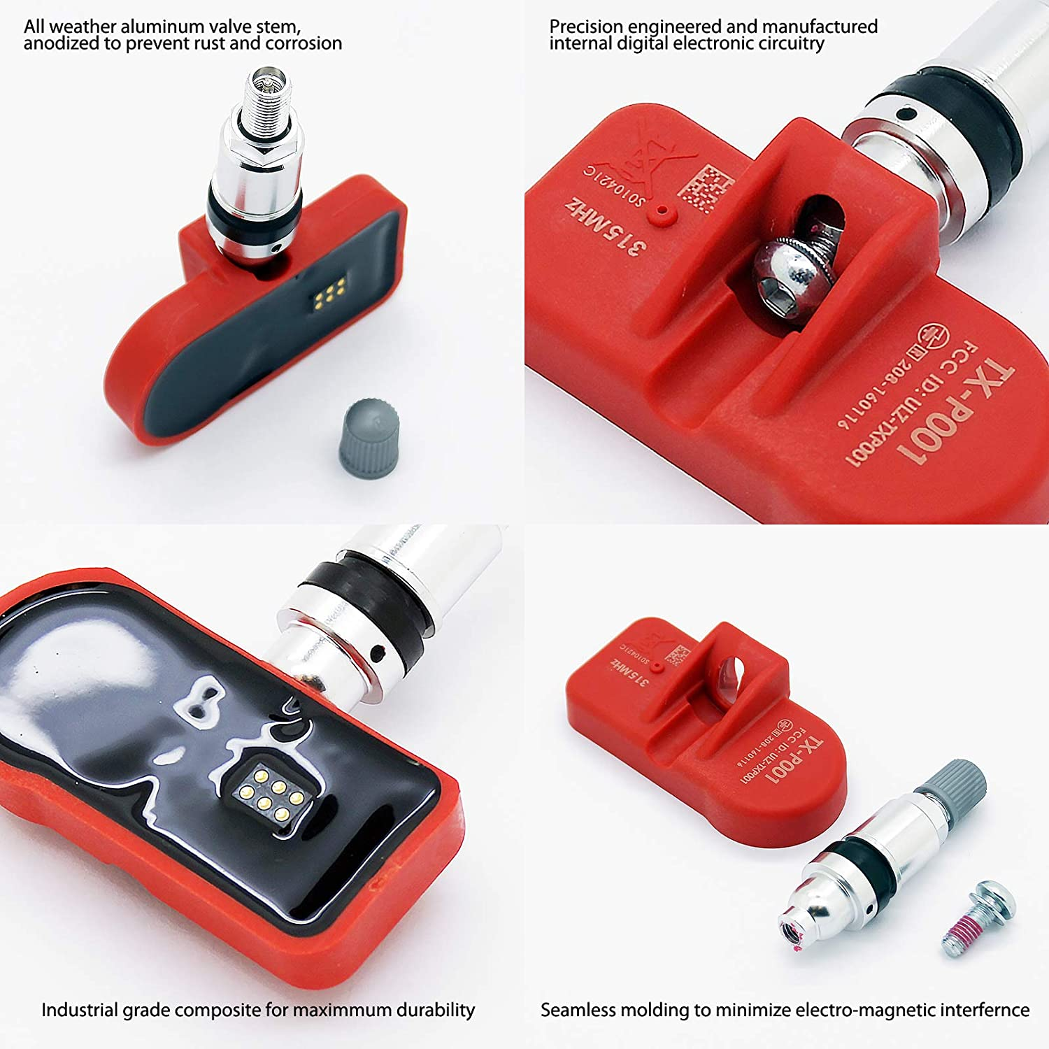 Pre-Programmed for Honda Accord CR-V Fit S2000 TX-S017-4 MOBILETRON 4-Pack 315MHz TPMS Tire Pressure Monitoring System Sensors OE Replacement Clamp-in