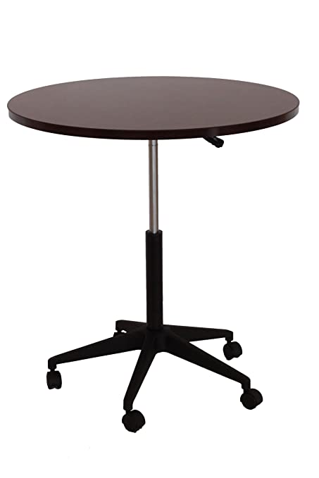 Boss Mobile Round Table, 32 Inch, Mahogany
