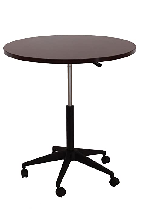 Delightful Boss Mobile Round Table, 32 Inch, Mahogany