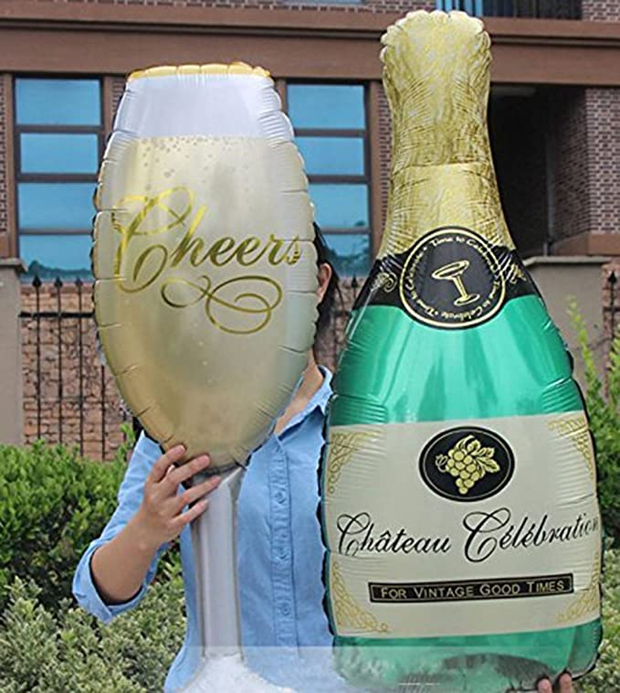 Cdet 2X Globo copas de champán cumpleaños fiesta de cumpleaños de aluminio arreglo de globo de aluminio: Amazon.es: Hogar